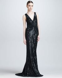 Elie Saab Sequined Plunging Evening Gown - Lyst