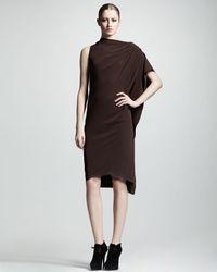 Lanvin Onesleeve Draped Crepe Dress - Lyst