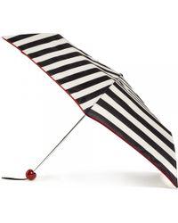 Lulu Guinness Stripe Print Superslim Umbrella red - Lyst