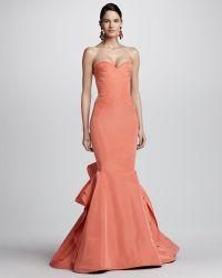 Oscar de la Renta Strapless Ruffle Back Fishtail Gown - Lyst
