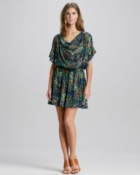 Alice + Olivia Melee Printed Draped Dress - Lyst