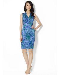 Lauren by Ralph Lauren Sleeveless Vneck Dress - Lyst