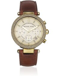 Michael Kors Parker 39Mm Leather Chronograph Glitz Watch - Lyst