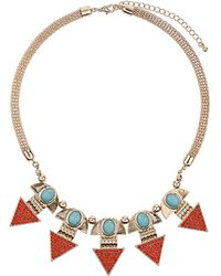 Topshop Rhinestone Triangle Earth Child Necklace - Lyst