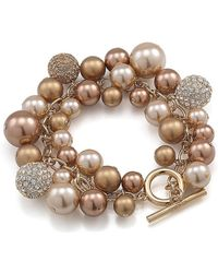 Carolee - Faux Pearl Crystal Toggle Bracelet - Lyst