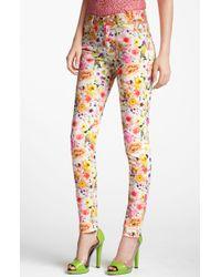 MSGM Floral Print Skinny Jeans - Lyst