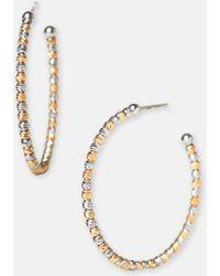 Argento Vivo Beaded Hoop Earrings - Lyst