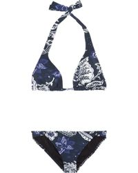 Oscar de la Renta Printed Halterneck Bikini blue - Lyst