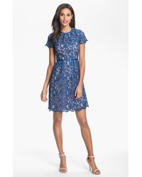 Adrianna Papell Scalloped Lace Dress - Lyst