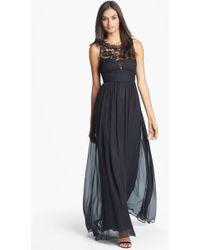 Aidan Mattox Embellished Lace & Silk Chiffon Gown - Lyst