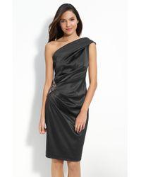 Eliza J Beaded One Shoulder Satin Dress - Lyst