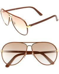 Gucci Leather Frame Aviator Sunglasses - Lyst