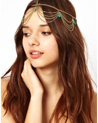 River Island - Stone and Chain Crown Head Band - Lyst