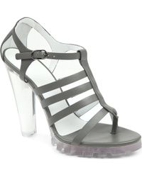 Christopher Kane Perspex Heel Leather Sandals - Lyst
