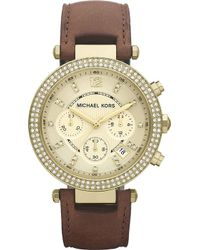 Michael Kors Parker Goldplated and Leather Chronograph Watch Brown - Lyst