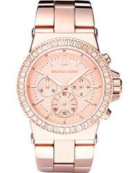 Michael Kors Rose Gold Baguette Bezel Watch Rose Gold - Lyst