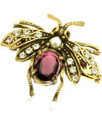 Alcozer & J   Gemstone Brass Bee Brooch   Lyst