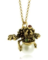 Alcozer & J | Glass Pearl Brass and Emerald Frog Pendant Necklace | Lyst