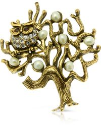 Alcozer & J - Tree with Owl Brooch - Lyst