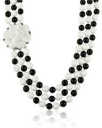AZ Collection - Black  White Camelia Clasp Glass Pearl Necklace - Lyst