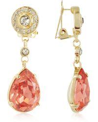 Az Collection Orange Clip-On Drop Earrings - Lyst