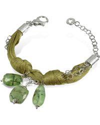 Daco Milano Green Gemstone Drops Multi-Strand Sterling Silver Lace Bracelet - Lyst