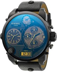 Diesel Super Bad Ass Steel and Leather Watch Blue - Lyst
