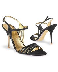 FORZIERI - Black Satin and Leather Cutout Evening Sandal Shoes - Lyst