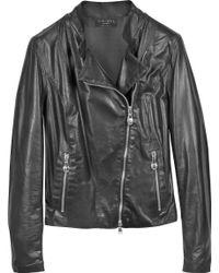 Forzieri Diagonal Zip Black Leather Motorcycle Jacket - Lyst