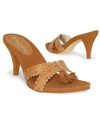 FORZIERI - Brown Ostrich Leather Straps Slide Clog Shoes - Lyst