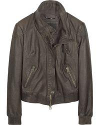 Forzieri Dark Brown Leather Motorcycle Jacket - Lyst