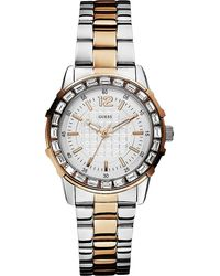 Guess Twotone Stainless Steel Watch Silver - Lyst