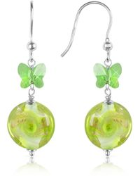 House of Murano - Vortice - Lime Swirling Murano Glass Bead Earrings - Lyst