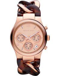 Michael Kors Rosegold Chronograph Watch Silver - Lyst