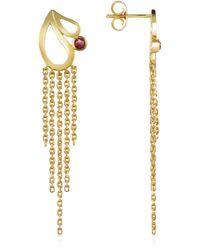 Sho London | Mari Splash Fringe Earrings W/ Rhodolite | Lyst