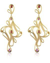Sho London | Mari Splash Silver Vermeil Drop Earrings | Lyst