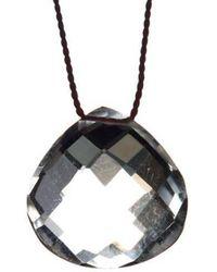 Vivien Frank Designs Solitaire Crystal Quartz Necklace On Silk Cord - Lyst