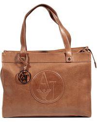 Giorgio Armani Faux Leather Medium Shopping Bag - Lyst