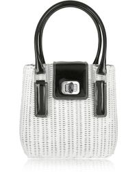 FORZIERI - Capaf Line Black & White Wicker Bucket Handbag - Lyst