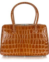 Giorgio Fedon - Spiga - Brown Croco Stamped Calfskin Medium Satchel Bag - Lyst