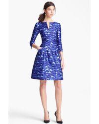 Oscar de la Renta Feather Print Dress blue - Lyst