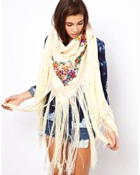 Pepe Jeans - Asos Oversized Hand Embroidered Tassel Scarf - Lyst