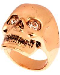 Wildfox - Rose Gold Skull Ring with Swarovski Stone - Lyst