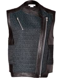 Helmut Lang Leather Paneled Biker Vest In Everest/Black black - Lyst