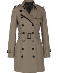 Burberry Prorsum Mid-Length Cotton-Gabardine Trench Coat - Lyst