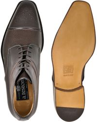 A.Testoni - Men'S Brown Leather Lace-Up Derby Boots - Lyst