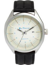 Ben Sherman Beige Dial Black Leather Strap Watch Bs009 - Lyst