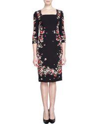 Dolce & Gabbana Threequarter Sleeve Floral Print Dress - Lyst