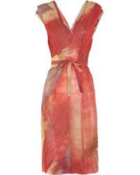 Vivienne Westwood Gold Label Tuck Union Jack Print Silk Chiffon Dress - Lyst