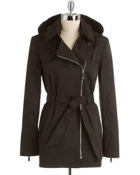 Vince Camuto Asymmetrical Zip-front Trench Coat - Lyst